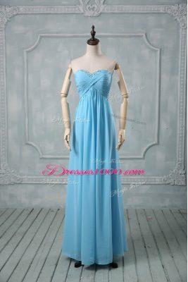 Edgy Floor Length Baby Blue Evening Dress Sweetheart Sleeveless Backless