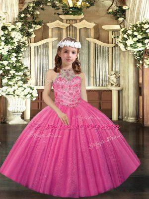 Elegant Floor Length Hot Pink Little Girls Pageant Dress Tulle Sleeveless Appliques