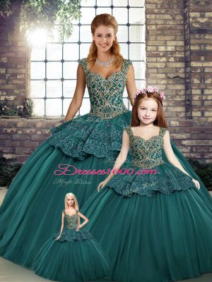 Sleeveless Beading and Appliques Lace Up Quinceanera Gown