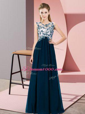 Super Floor Length Empire Sleeveless Navy Blue Dama Dress for Quinceanera Zipper