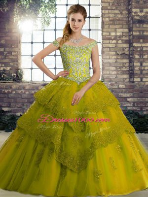Glorious Olive Green Lace Up Off The Shoulder Beading and Lace Sweet 16 Dress Tulle Sleeveless Brush Train
