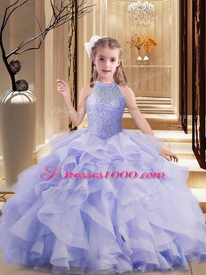 Lavender Ball Gowns High-neck Sleeveless Brush Train Lace Up Beading and Ruffles Womens Party Dresses