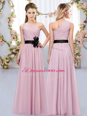 Floor Length Zipper Wedding Party Dress Pink for Wedding Party with Belt