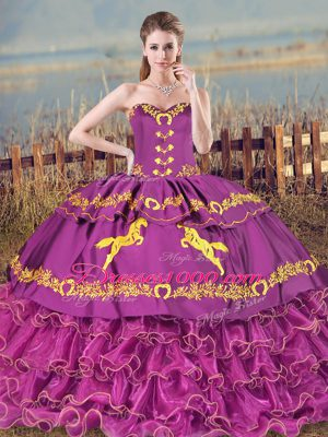 Flirting Purple Sweetheart Neckline Embroidery and Ruffles Quinceanera Gowns Sleeveless Lace Up