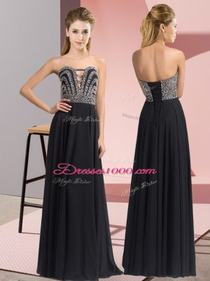 Black Empire Beading Prom Evening Gown Lace Up Chiffon Sleeveless Floor Length