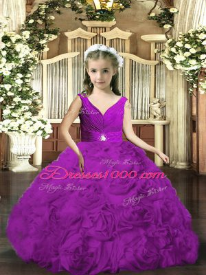 Purple Backless V-neck Beading and Ruching Pageant Gowns For Girls Fabric With Rolling Flowers Sleeveless