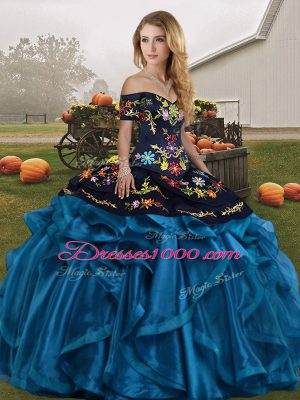 Discount Sleeveless Organza Floor Length Lace Up 15th Birthday Dress in Blue And Black with Embroidery and Ruffles