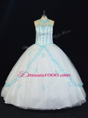 Romantic Tulle Halter Top Sleeveless Lace Up Appliques 15th Birthday Dress in Blue And White