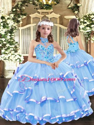 Eye-catching Sleeveless Lace Up Floor Length Appliques and Ruffled Layers High School Pageant Dress