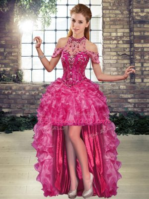Fuchsia A-line Beading and Ruffles Celeb Inspired Gowns Lace Up Organza Sleeveless High Low
