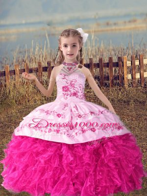 Nice Beading and Embroidery and Ruffles Kids Pageant Dress Hot Pink Lace Up Sleeveless Floor Length