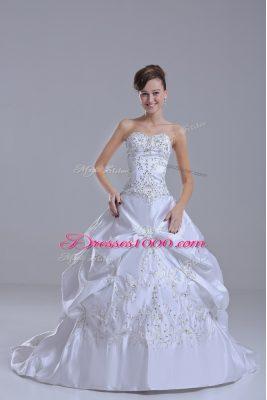 White Sleeveless Brush Train Beading and Pick Ups Wedding Gowns