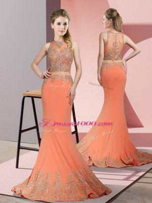 Fashion Orange Red Mermaid Beading and Appliques Homecoming Dress Zipper Satin Sleeveless