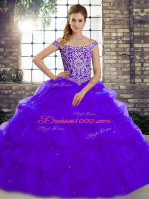 Eye-catching Purple Off The Shoulder Neckline Beading and Pick Ups Quince Ball Gowns Sleeveless Lace Up