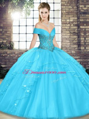 Beauteous Off The Shoulder Sleeveless Sweet 16 Dress Floor Length Beading and Ruffles Aqua Blue Tulle