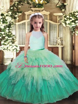 Adorable Multi-color High-neck Backless Ruffles High School Pageant Dress Sleeveless