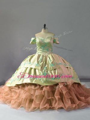Noble Organza Off The Shoulder Sleeveless Chapel Train Lace Up Embroidery and Ruffles Quinceanera Gowns in Multi-color