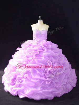 Exquisite Sleeveless Beading and Pick Ups and Hand Made Flower Lace Up Sweet 16 Dress with Lilac Court Train