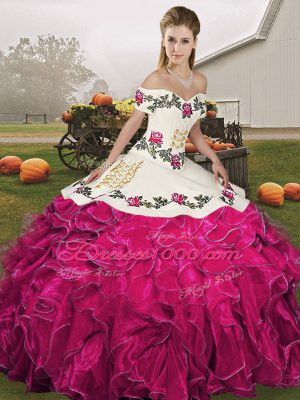 Low Price Fuchsia Sleeveless Embroidery and Ruffles Floor Length Quinceanera Dresses