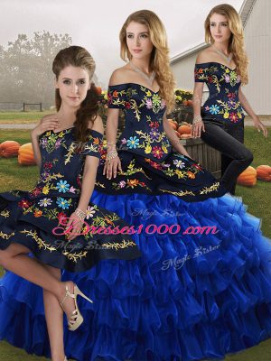 Sleeveless Floor Length Embroidery and Ruffled Layers Lace Up 15 Quinceanera Dress with Blue And Black