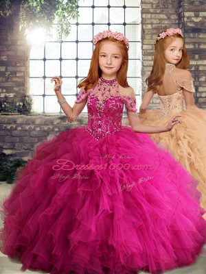 Custom Designed Fuchsia Girls Pageant Dresses Party with Beading and Ruffles High-neck Sleeveless Lace Up