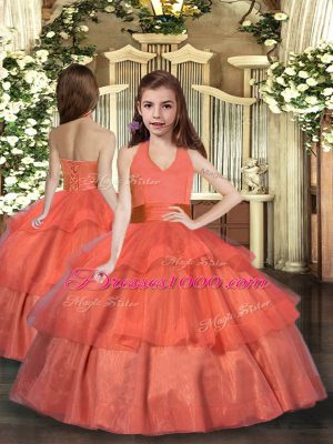 Orange Red Organza Lace Up Halter Top Sleeveless Floor Length Party Dress for Toddlers Ruffled Layers