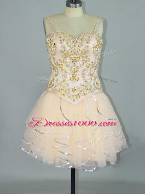 Champagne Lace Up Beading and Ruffles Sleeveless Mini Length