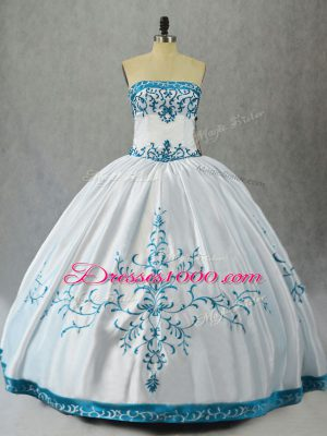 Top Selling White Lace Up Strapless Embroidery Sweet 16 Dress Satin Sleeveless