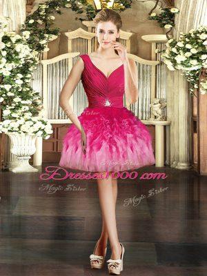 Custom Design Multi-color Ball Gowns V-neck Sleeveless Tulle Mini Length Backless Ruffles Homecoming Dress Online