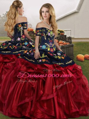 Charming Embroidery and Ruffles Sweet 16 Dress Red And Black Lace Up Sleeveless Floor Length