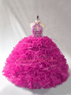 Free and Easy Organza Sleeveless Ball Gown Prom Dress Brush Train and Beading and Ruffles