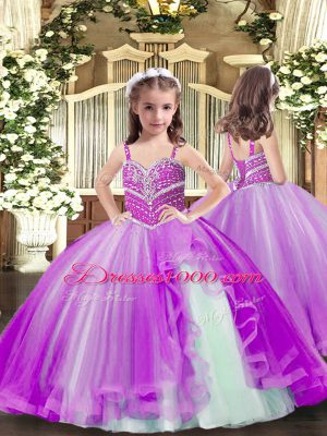 Perfect Sleeveless Lace Up Floor Length Beading Little Girls Pageant Dress Wholesale