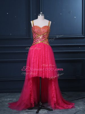 Custom Made Hot Pink Sleeveless Beading and Lace and Sequins High Low Dress for Prom
