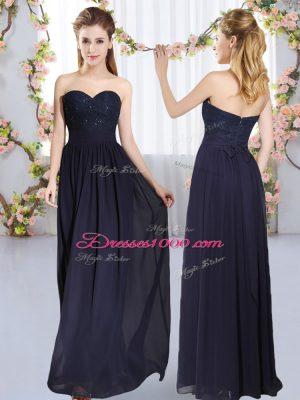 Navy Blue Empire Sweetheart Sleeveless Chiffon Floor Length Zipper Beading and Lace Bridesmaid Gown