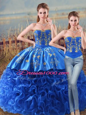 Vintage Royal Blue Two Pieces Fabric With Rolling Flowers Sweetheart Sleeveless Embroidery and Ruffles Lace Up Quinceanera Gown Brush Train