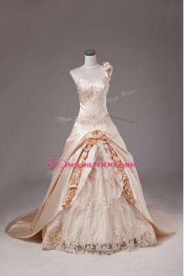 One Shoulder Sleeveless Brush Train Lace Up Quinceanera Gown Champagne Satin