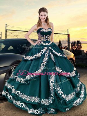 Colorful Sleeveless Floor Length Embroidery and Ruffled Layers Lace Up Vestidos de Quinceanera with Peacock Green