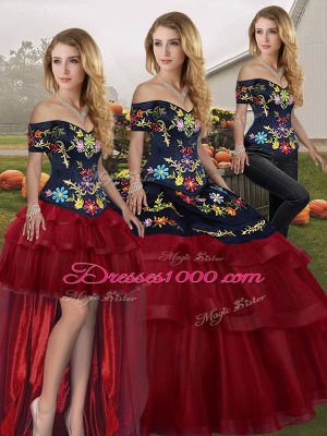 Dramatic Wine Red Quinceanera Dresses Off The Shoulder Sleeveless Brush Train Lace Up