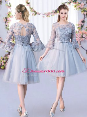 Extravagant Knee Length Lace Up Quinceanera Court Dresses Grey for Wedding Party with Lace and Belt