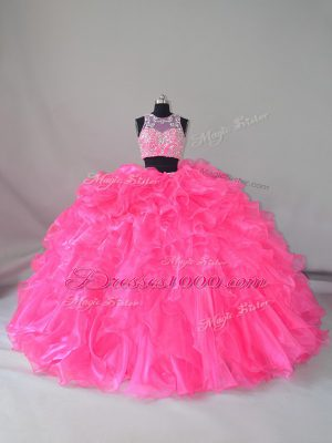 Hot Pink Zipper Scoop Beading and Ruffles Quinceanera Dress Organza Sleeveless Court Train