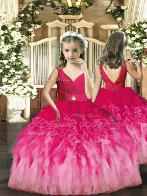 Charming V-neck Sleeveless Pageant Dress Wholesale Floor Length Beading and Ruffles Hot Pink Tulle