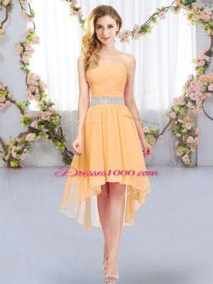 Lovely Orange Sleeveless High Low Belt Lace Up Vestidos de Damas