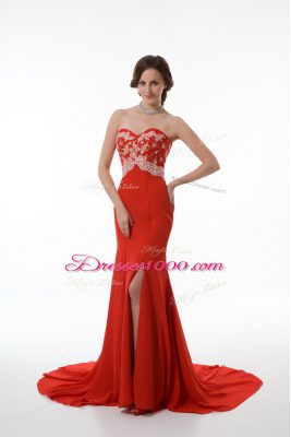 Sleeveless Chiffon Brush Train Zipper Prom Evening Gown in Red with Beading and Appliques