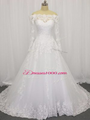White Off The Shoulder Neckline Beading and Lace Wedding Gowns Long Sleeves Clasp Handle