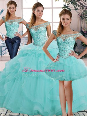 Best Selling Floor Length Aqua Blue Sweet 16 Quinceanera Dress Off The Shoulder Sleeveless Lace Up