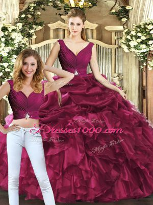 Attractive V-neck Sleeveless Organza Sweet 16 Dress Pick Ups Backless