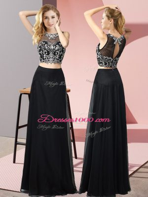 Classical Two Pieces Prom Evening Gown Black Scoop Chiffon Sleeveless Floor Length Backless