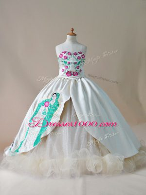 Stylish Lace Up Little Girls Pageant Dress Champagne for Wedding Party with Embroidery Sweep Train