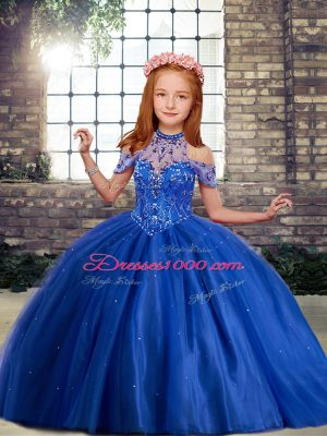 High-neck Sleeveless Lace Up Beading and Ruffles Little Girl Pageant Gowns in Royal Blue