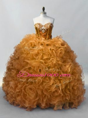 Discount Lace Up Quinceanera Dress Gold for Sweet 16 and Quinceanera with Sequins